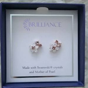 Swarovski and mother of pearl flower earnings